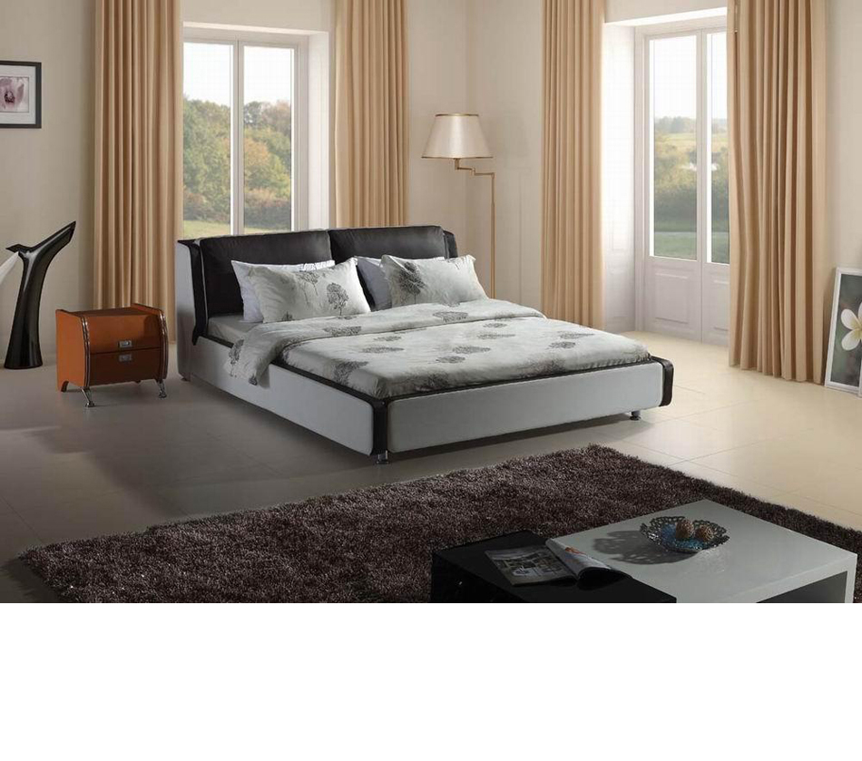 Modern black and white leatherette bed - Black and white modern bedding ...