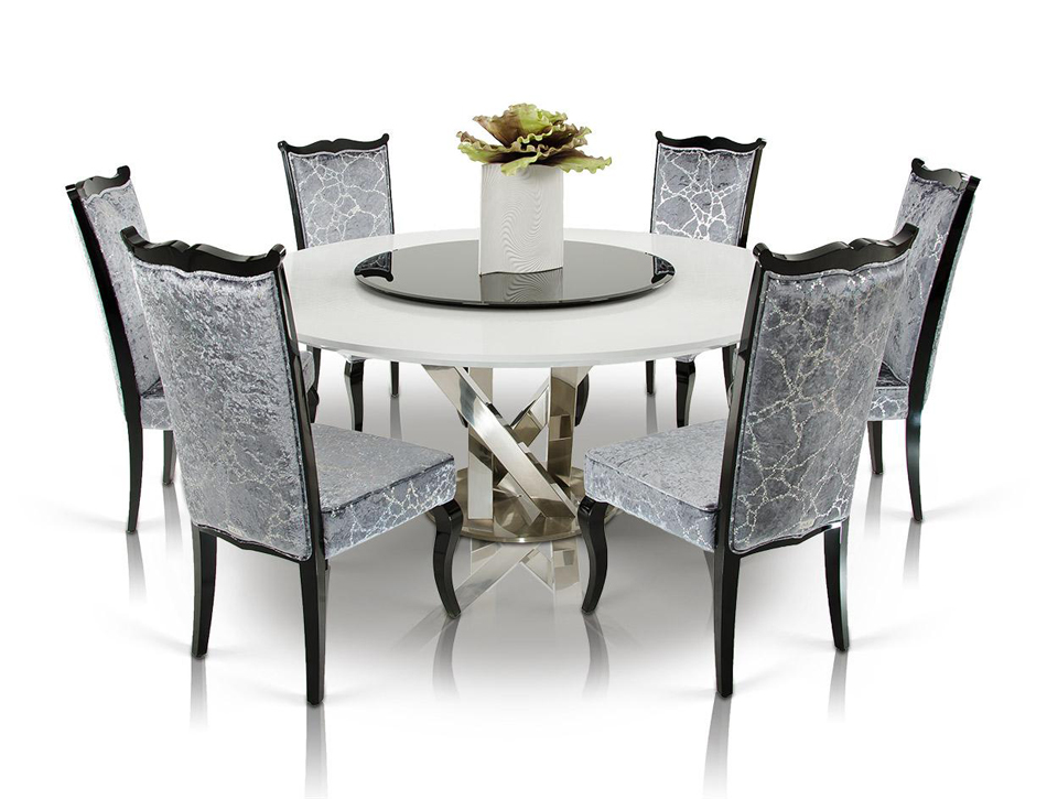 Dreamfurniture Com Modern Round White Dining Table With