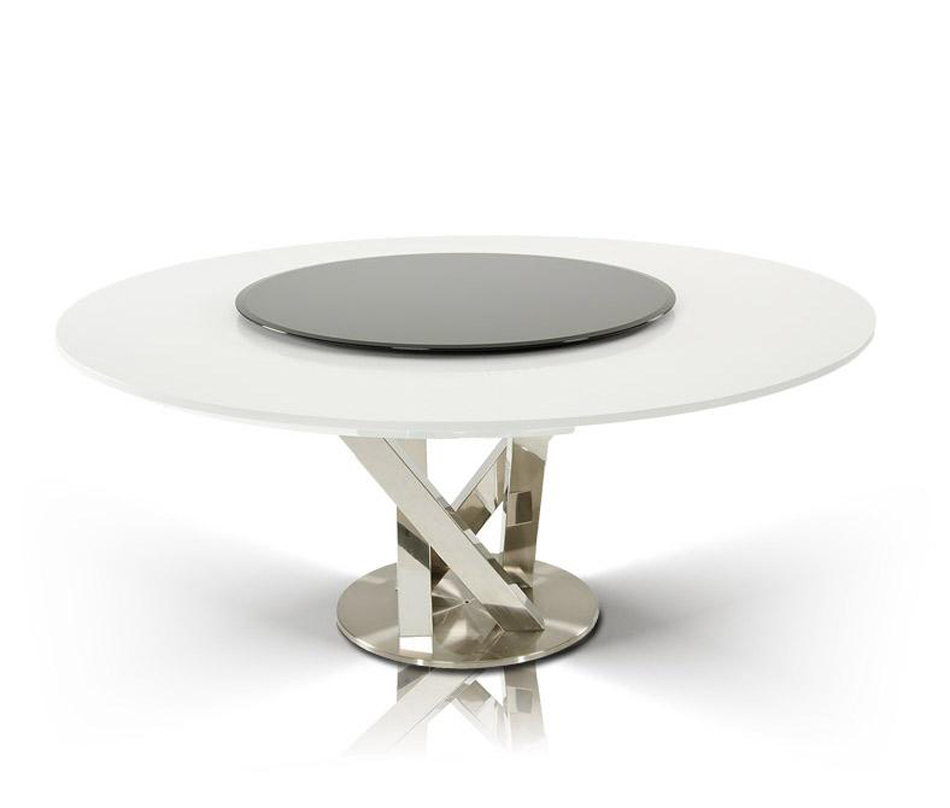 Modern Round White Dining Table With Lazy Susan