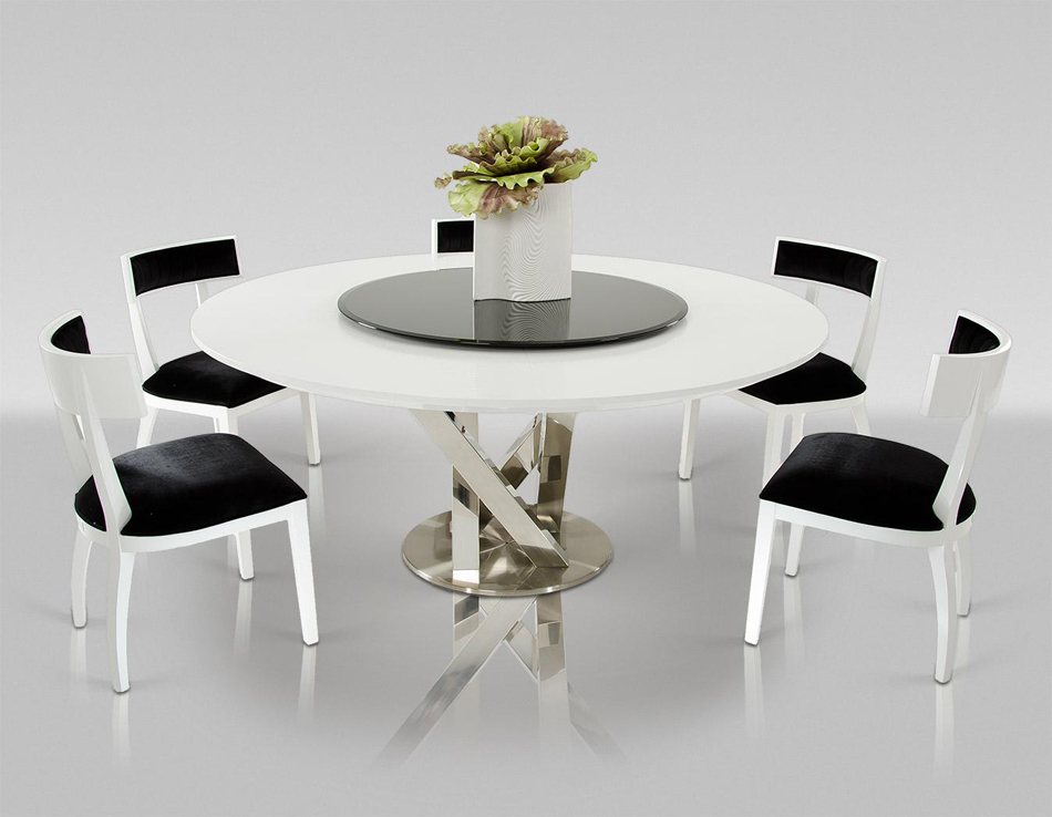 DreamFurniturecom Modern Round White Dining Table with  : Modern20Round20White20Dining20Table20with20Lazy20Susan from www.dreamfurniture.com size 950 x 738 jpeg 278kB