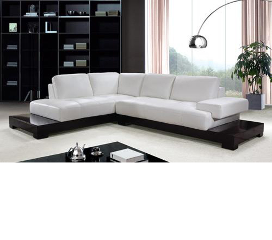 Contemporary Sectional: Modern White Leather Sectional Sofa
