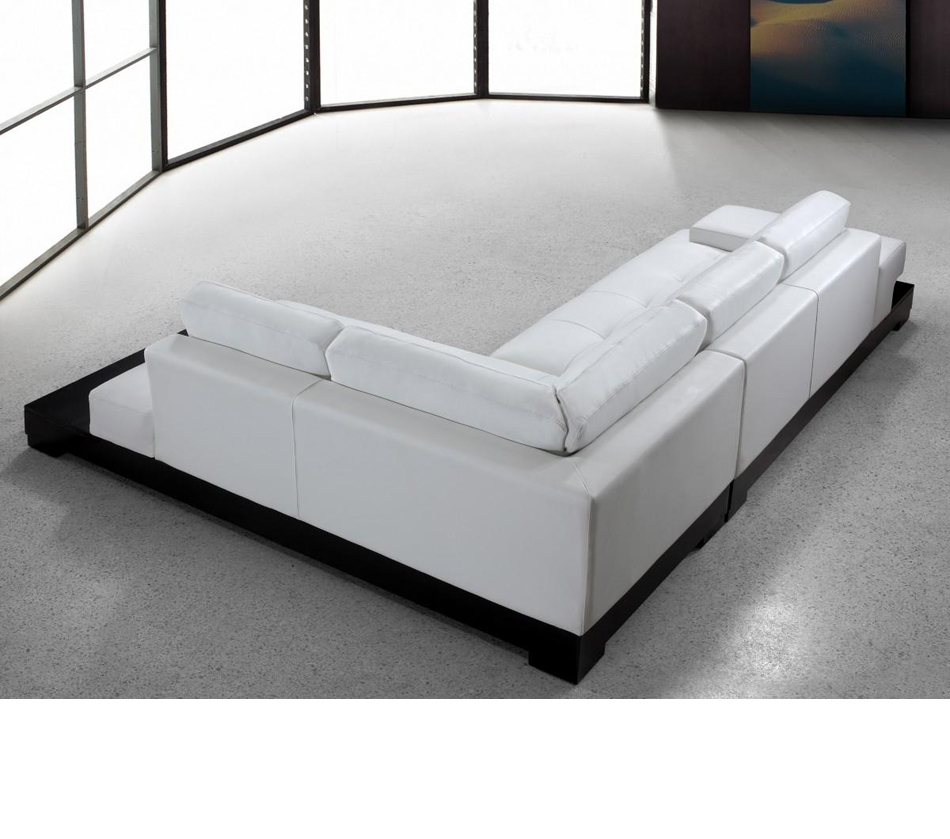 Enfield Modern White Leather Sofa: Modern White Leather Sectional Sofa