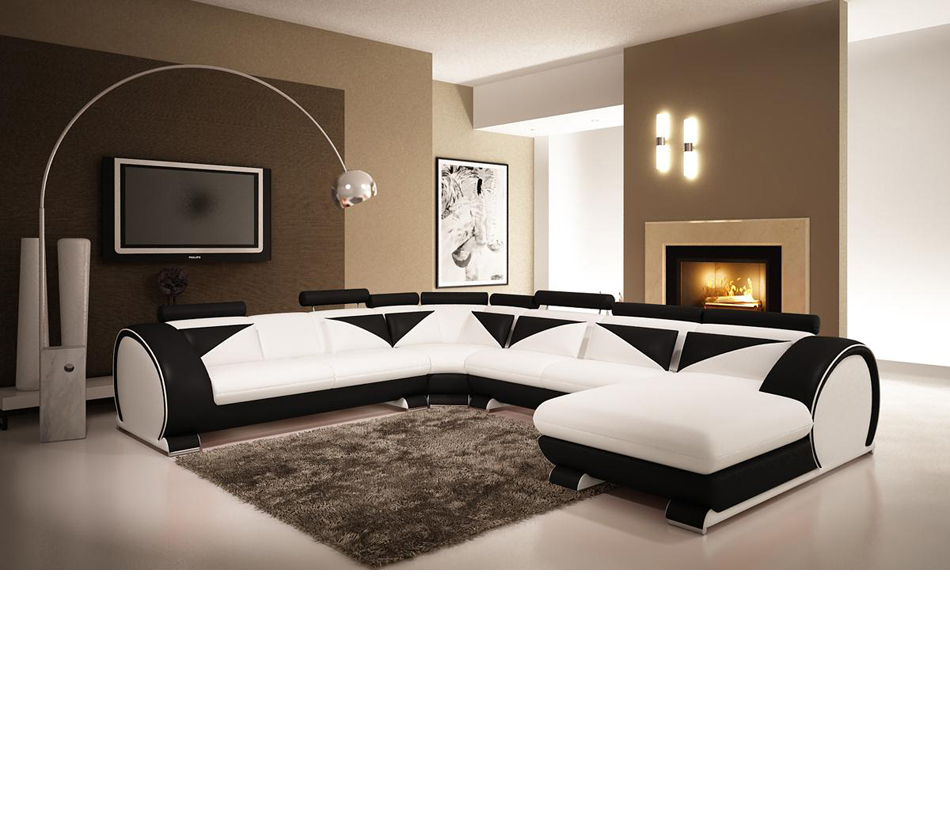 Modern White And Black Leather Sectional Sofa With Headr