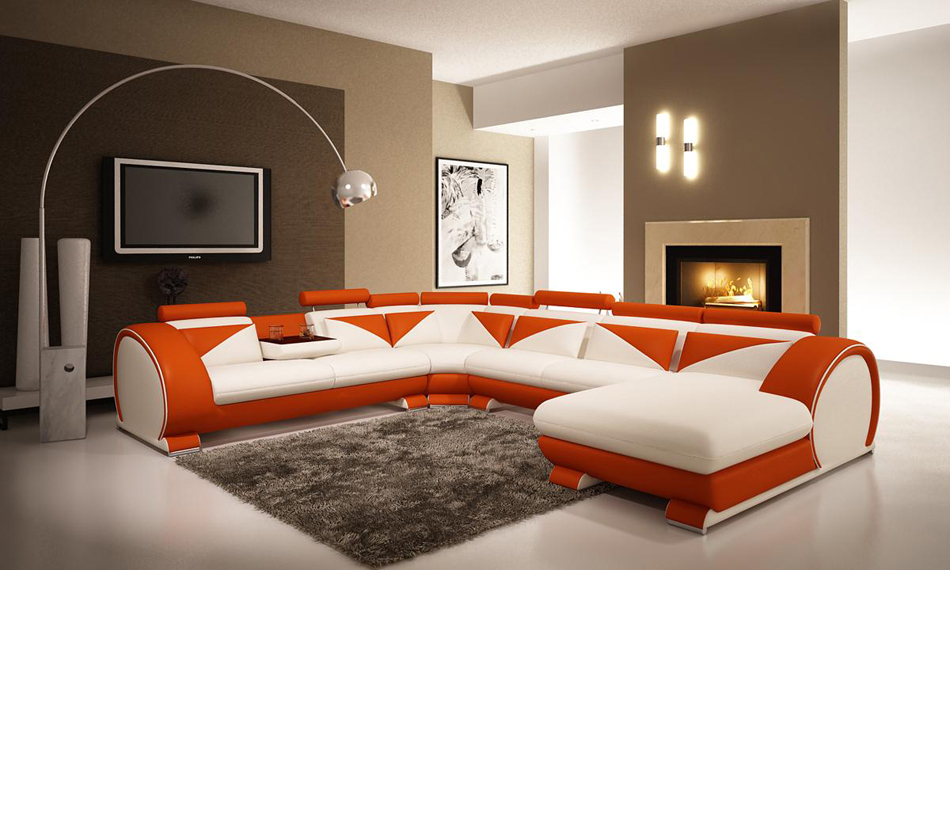 - DreamFurniture.com - Modern White And Orange Leather Sectional