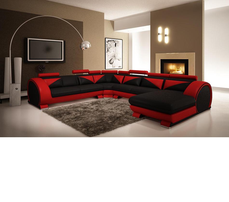 Modern red and black leather sectional sofa with headrests for Red and black themed living room