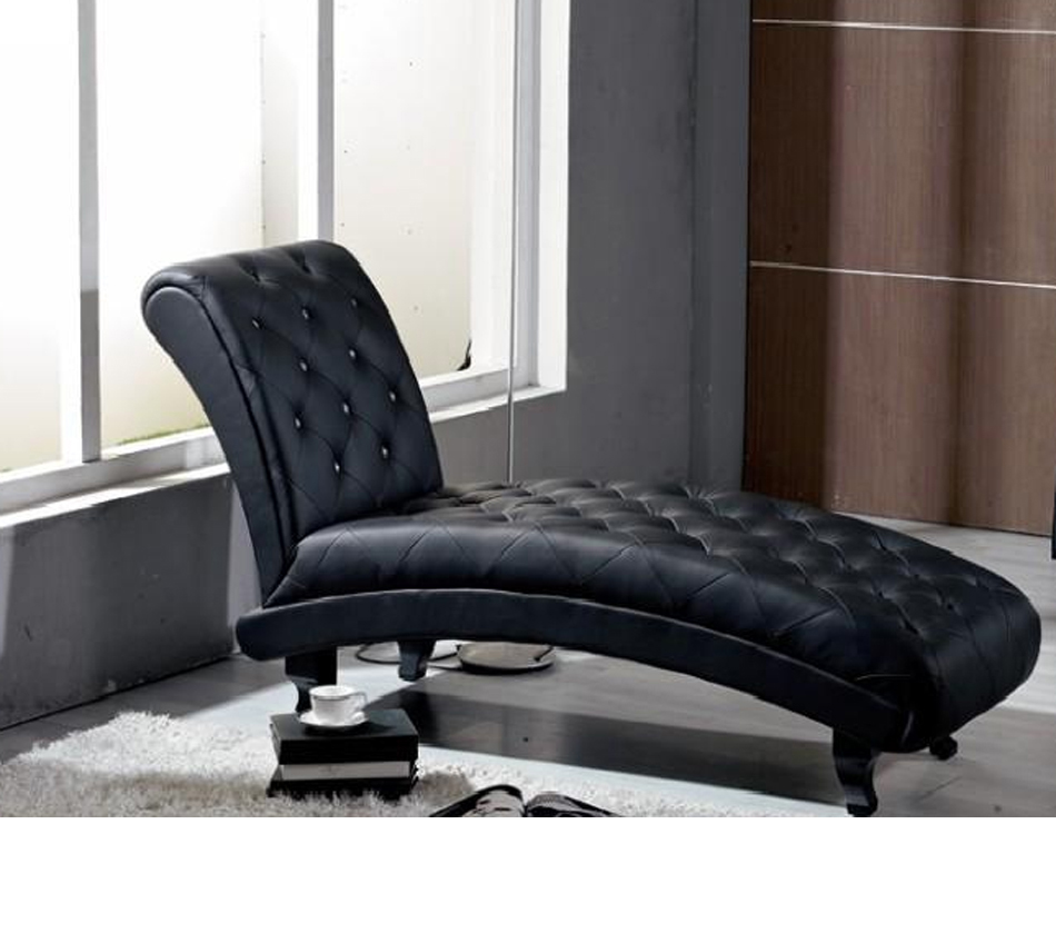 Monte carlo black leather chaise for Black leather chaise sale