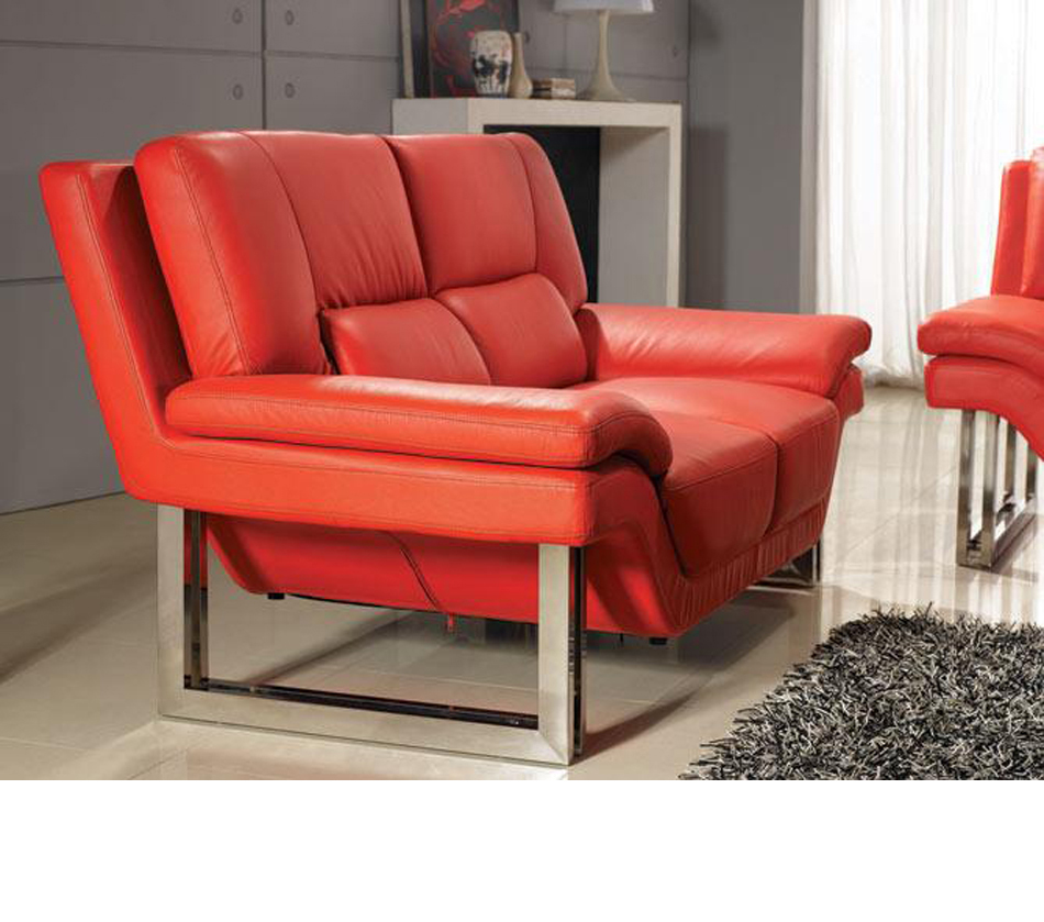 Modern Red Finish PVC Leather Accent Chair By Acme Furniture