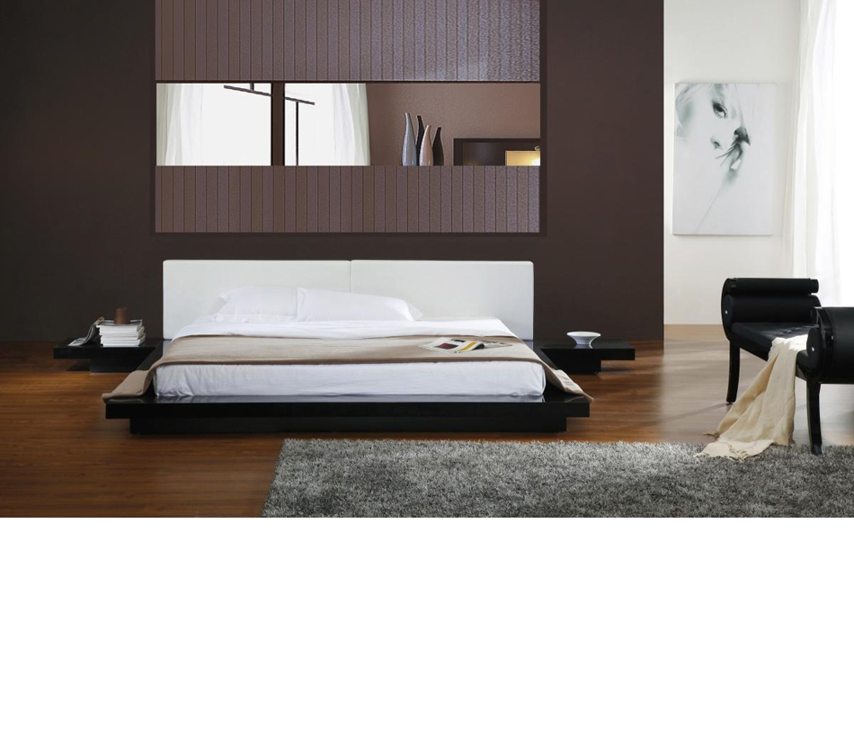 Opal black gloss japanese style Platform bed japanese style