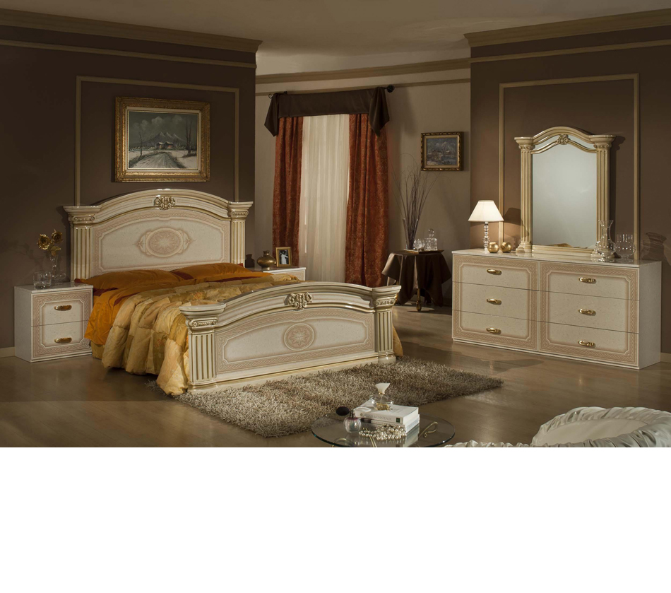 Opera   Italian Classic Beige Gold Bedroom Set