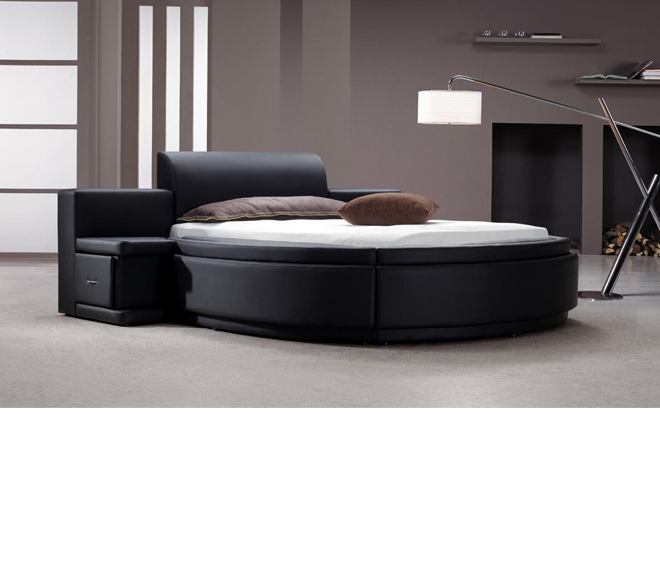 Black Leather Round Bed With