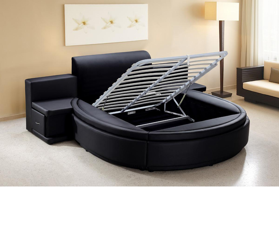 bedroom furniture beds owen black leather round bed with storage