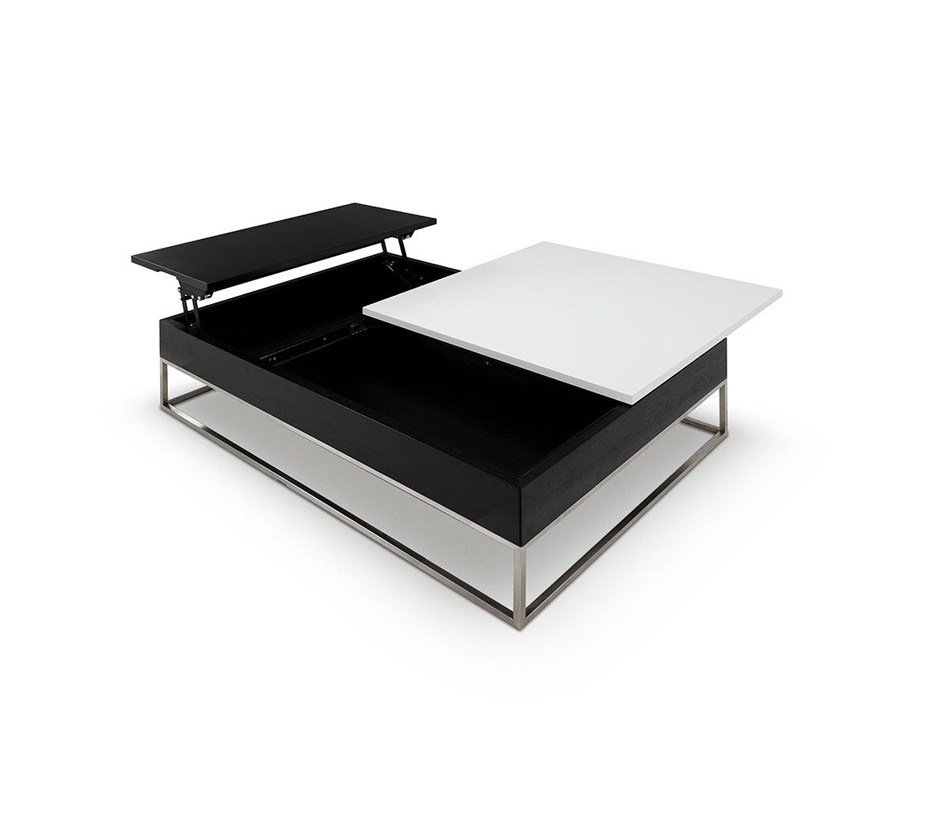 P209a modern white coffee table with pull out tray and storage Black and white coffee table