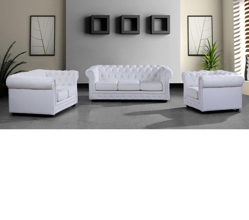 Paris 3 Modern White Leather Sofa Set