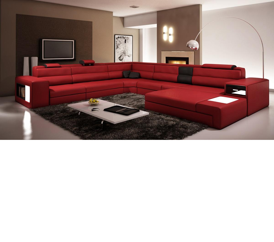 Polaris - Italian Leather Sectional Sofa in Dark Red