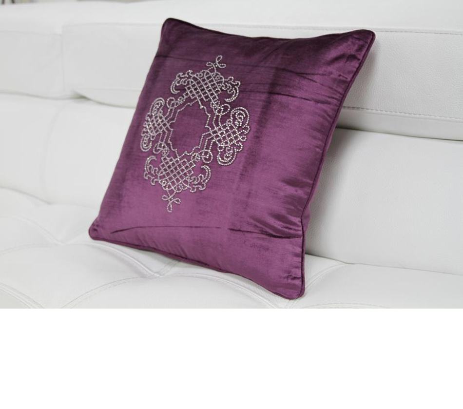 DreamFurniture.com - Purple Elegant Faux Crystal Throw Pillow