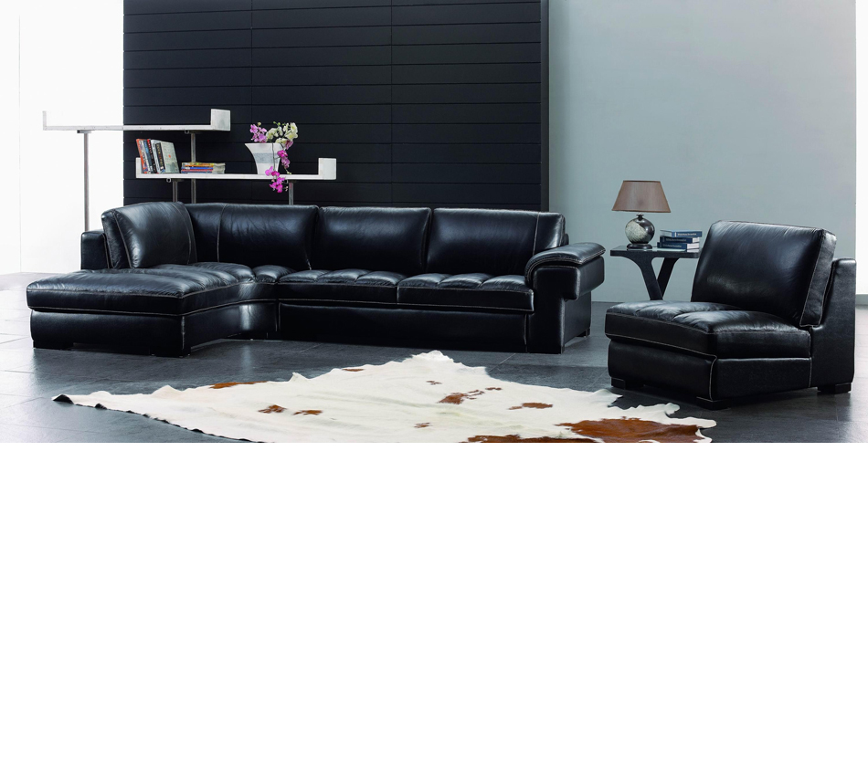 Dreamfurniture Com Sbo3999 Modern Black Leather Sectional Sofa Set