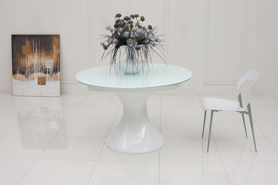 Savor modern round white lacquer for White lacquer dining table