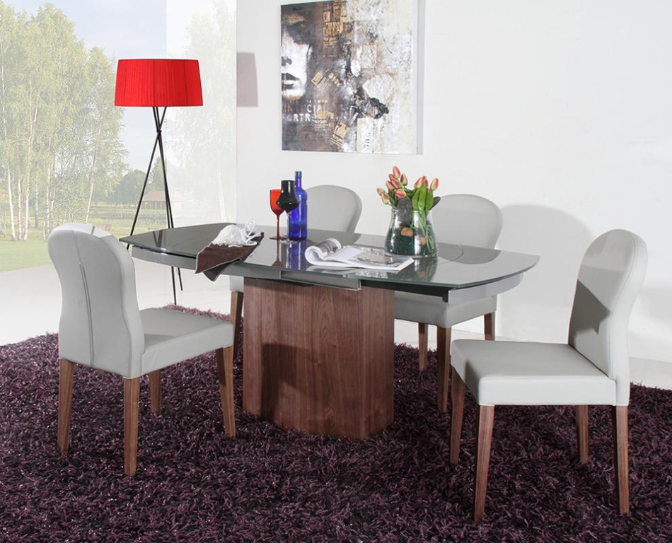 Dining Tables Swing Modern Grey Walnut Veneer Dining Table