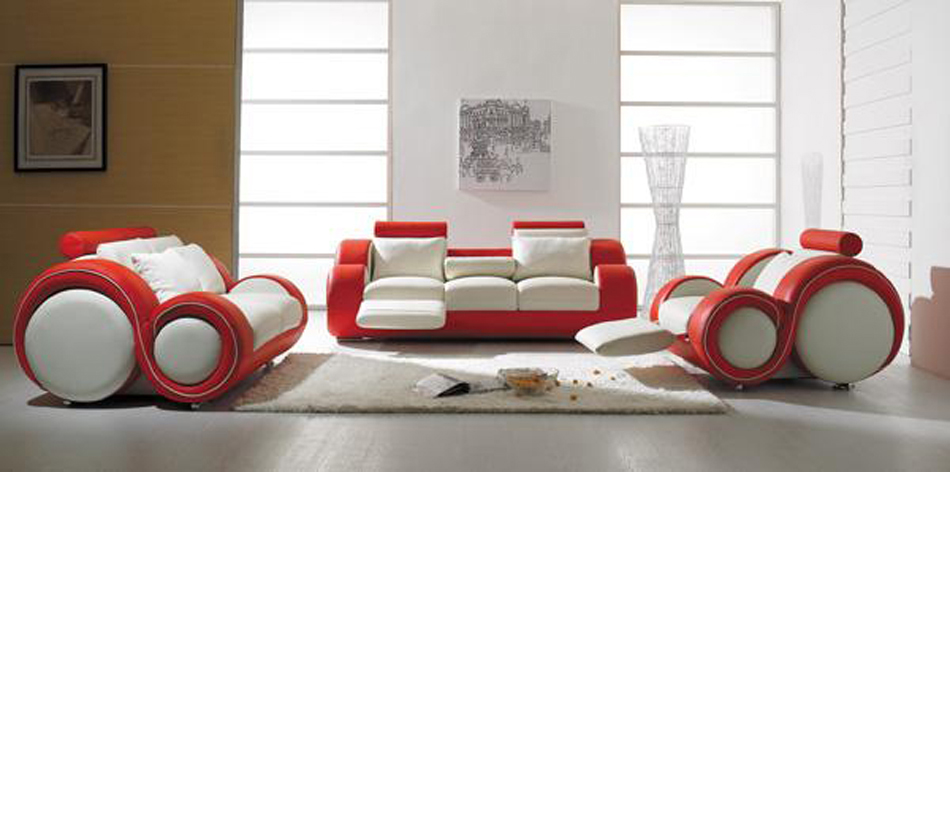 DreamFurniture.com - T 27 - Contemporary White and Red Leather Sofa Set