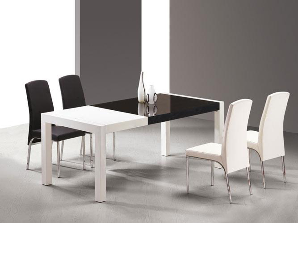 White Dining Room Table And Chairs: T062 Combi White And Black Lacquer Table