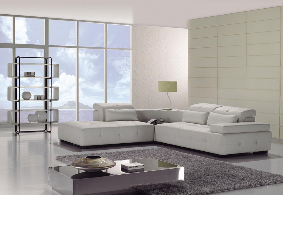 Modern White Leather Sectional Sofa: T90 Modern White Leather Sectional Sofa