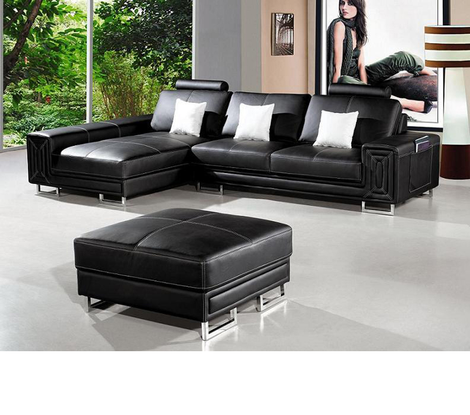 T957 Modern Black Leather Sectional