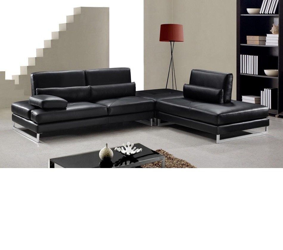 Tango modern black leather for Leather sectional sofa