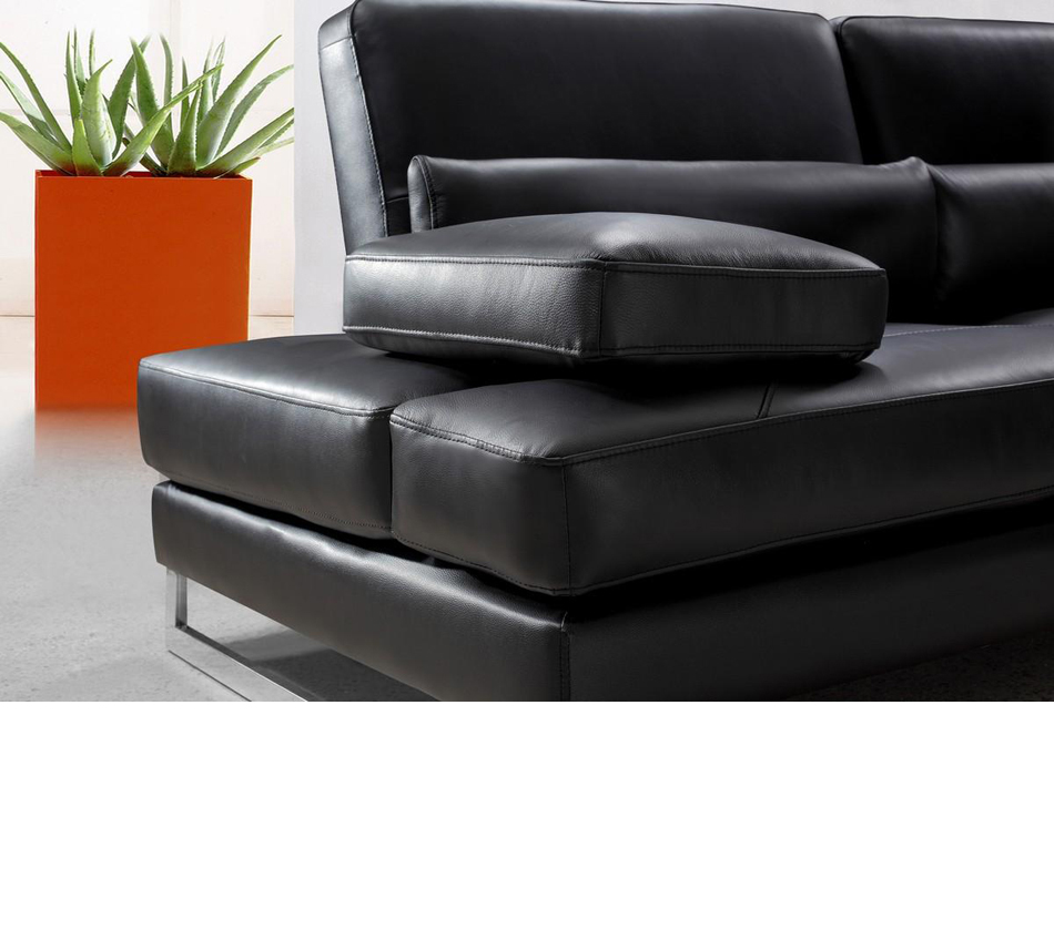 Tango Modern Black Leather Sectional Sofa