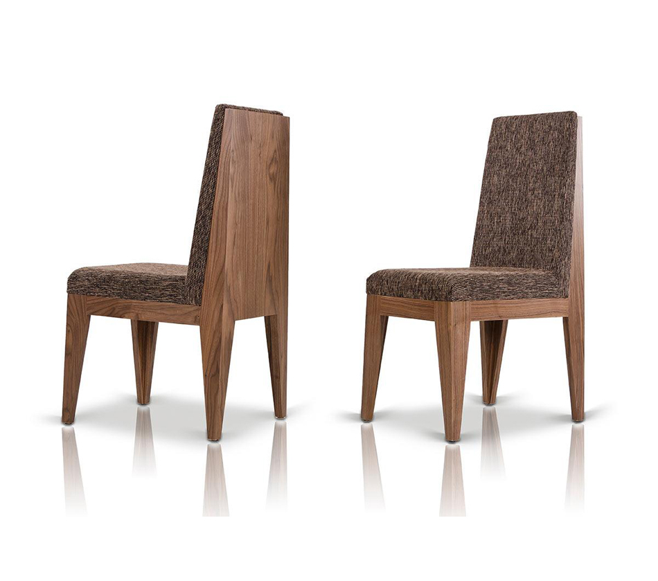 Aura modern walnut dining chair for Walnut dining chairs modern