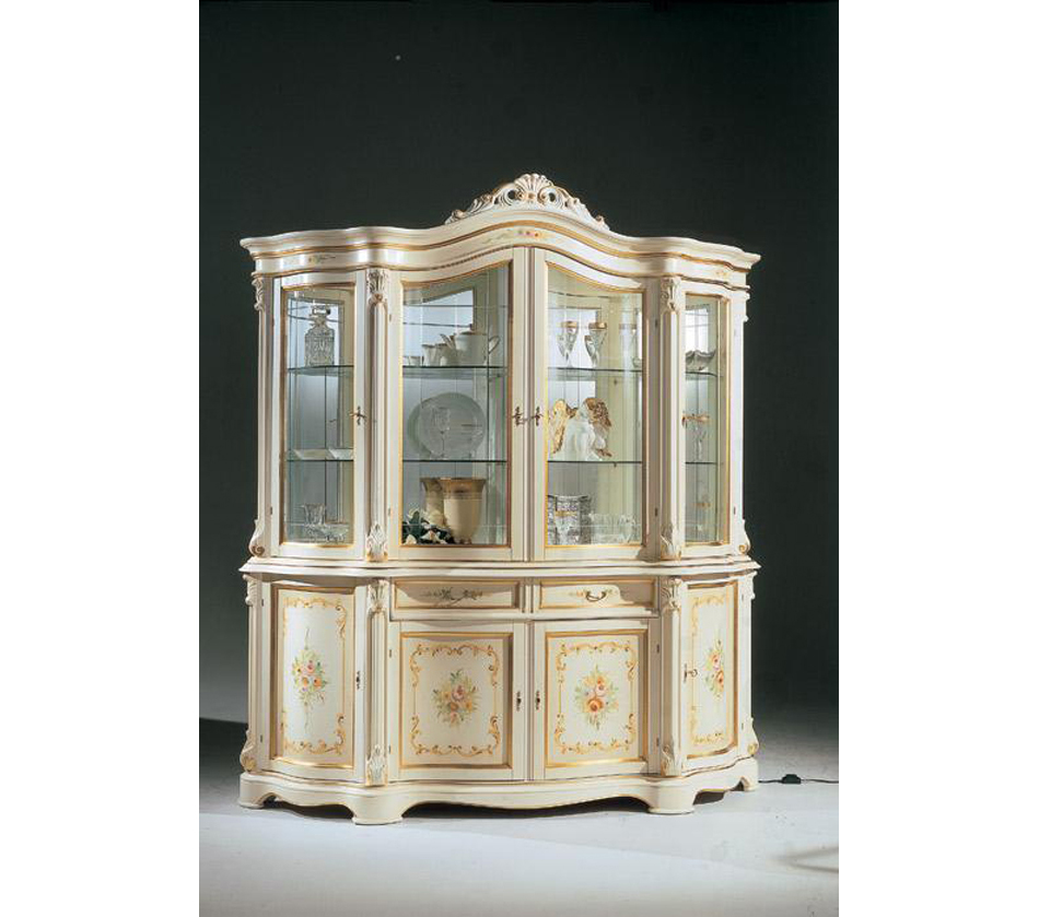 Regina Traditional Italian Antique White 4 Door China Cabinet - DreamFurniture.com - Regina Traditional Italian Antique White 4 Door