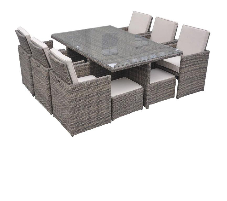 DreamFurniture Barcelona Rectangular pact Table 6 Fold out Chairs