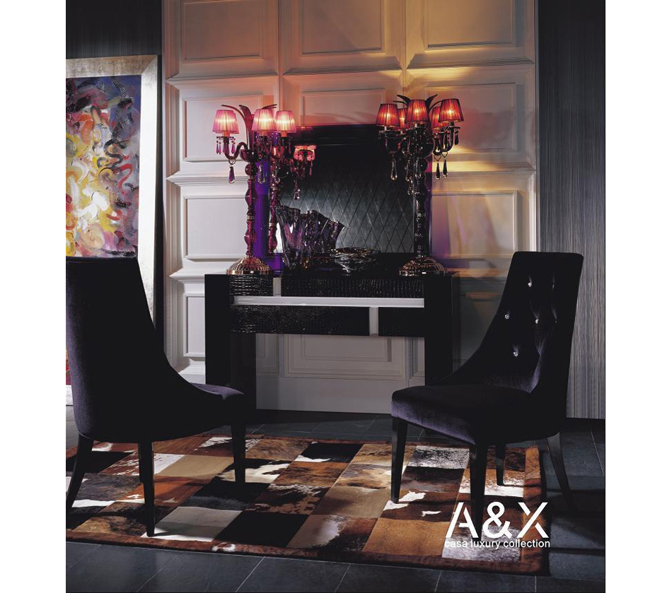 Dreamfurniture Aa031 Black Velour Dining Chair Armani Xavira Collection