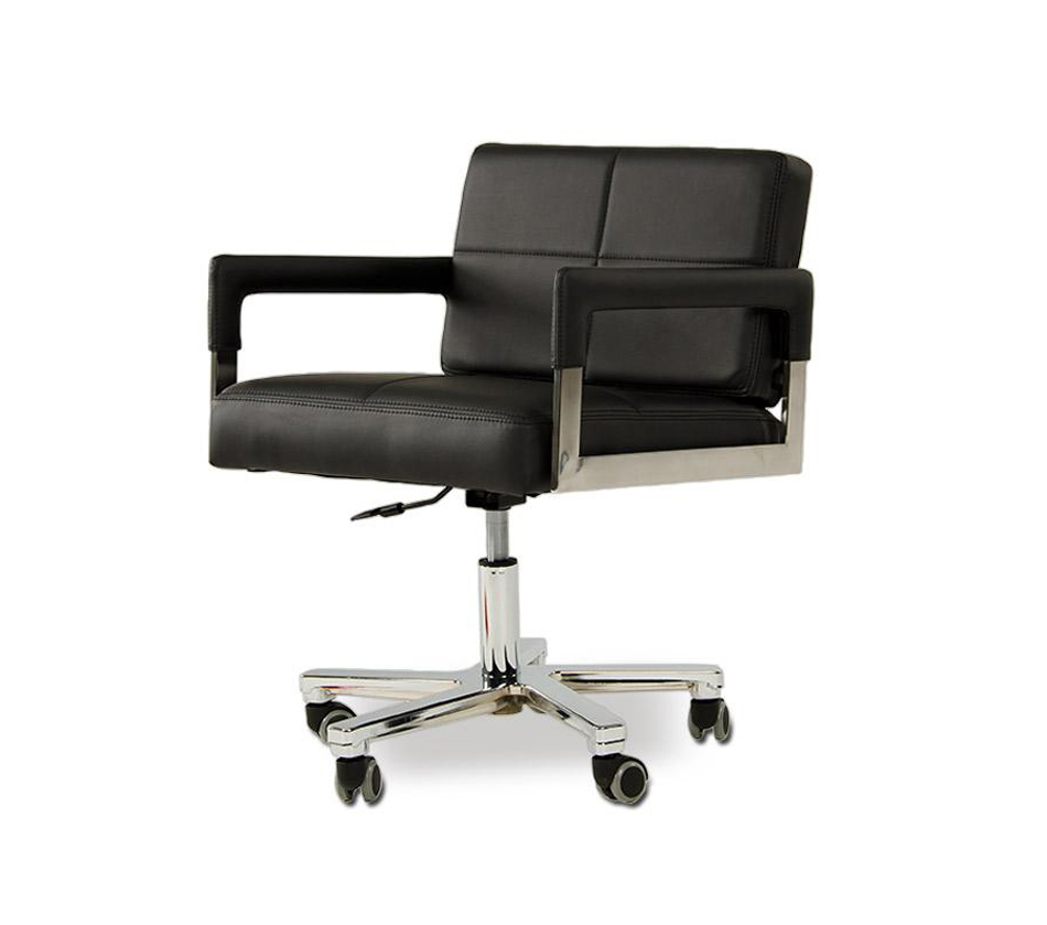 DreamFurniture.com - Alaska - Modern Black Leather Office ...