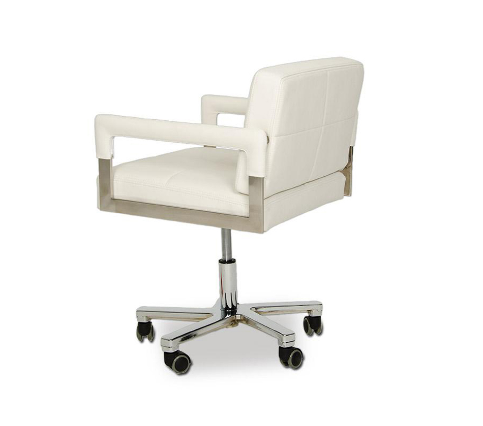 Alaska modern white leather office for Modern white office chair