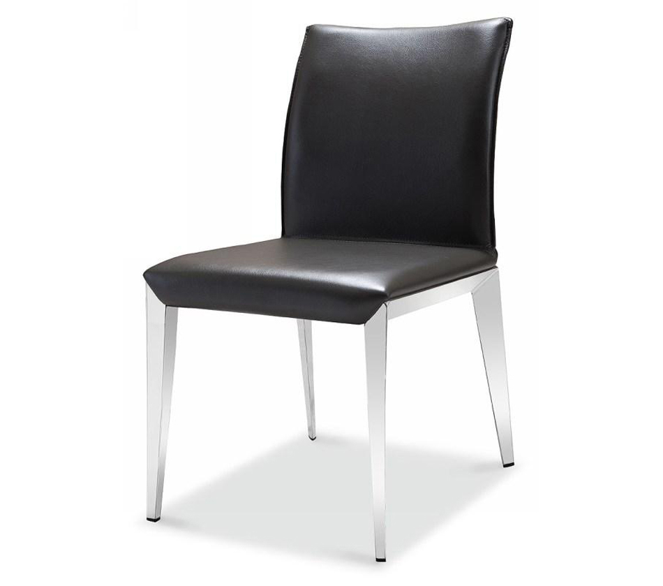 E531y modern grey eco leather for Modern leather dining room chairs