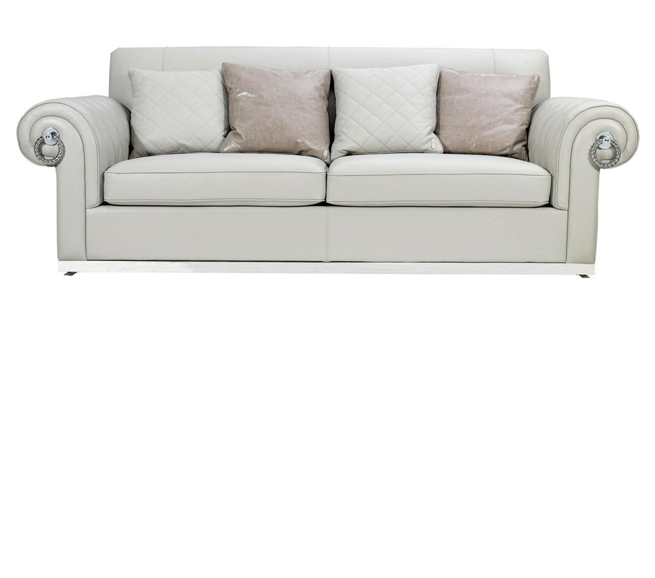 Off White Empire Style Leather Sofa