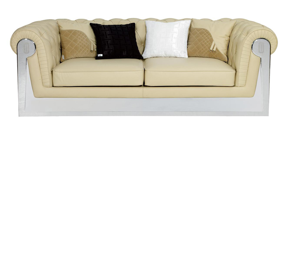 Stainless Steel Framed Beige Leather Sofa