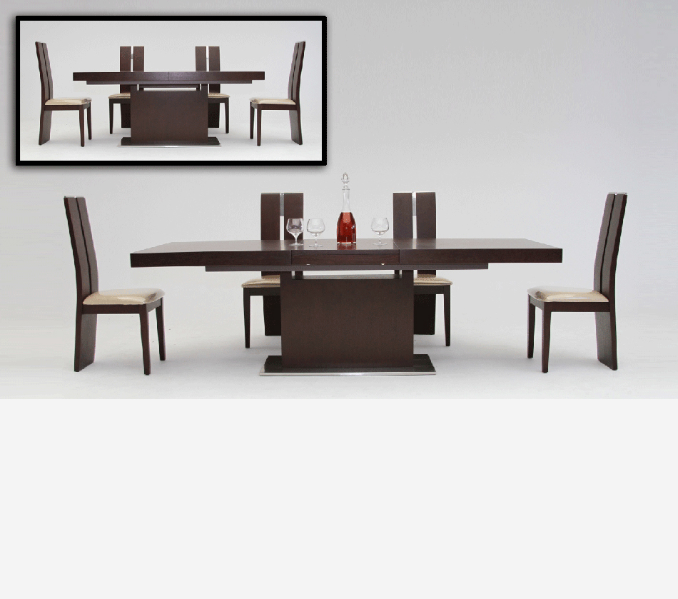 dreamfurniture - zenith - modern red oak extendable dining table