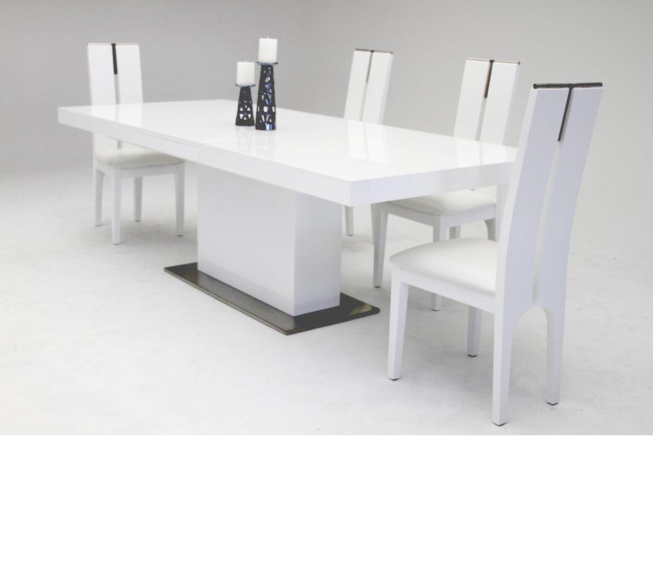 zenith modern white extendable dining table. Black Bedroom Furniture Sets. Home Design Ideas