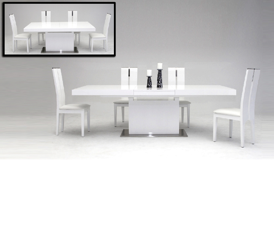 Dining Tables Zenith Modern White Extendable Dining Table