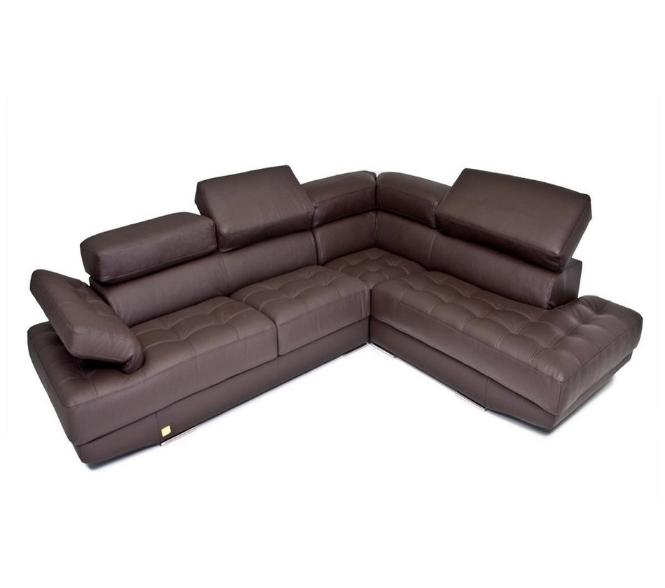 Principe Made In Italy Brown Full Top Grain Leather Sectional Sofa
