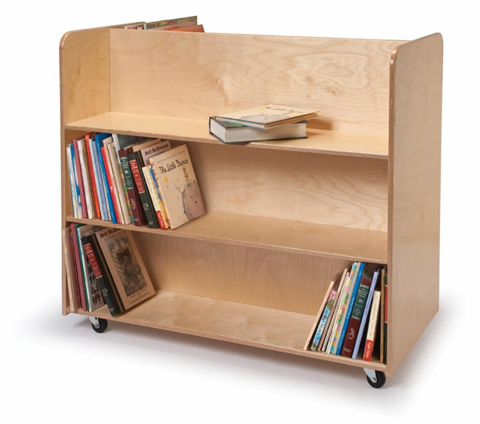 Dreamfurniture Com Two Sided Mobile Library Cart
