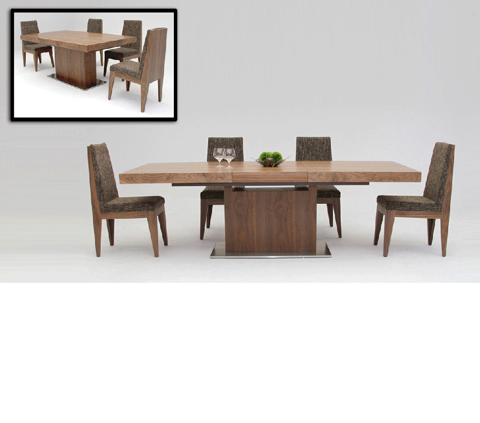 room furniture dining tables zenith modern walnut extendable