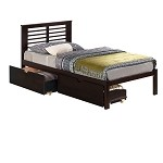 901Te Twin Mission Bed Shown W/Dual Storage Under Drawers