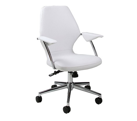 Ibanez Office Chair in chrome/aluminum upholstered in Pu Ivory