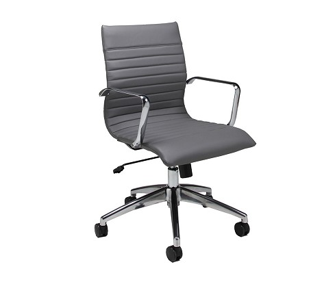Janette Office Chair  in chrome/aluminum upholstered in Pu Grey