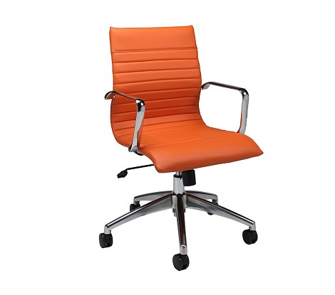 Janette Office Chair  in chrome/aluminum upholstered in Pu Orange