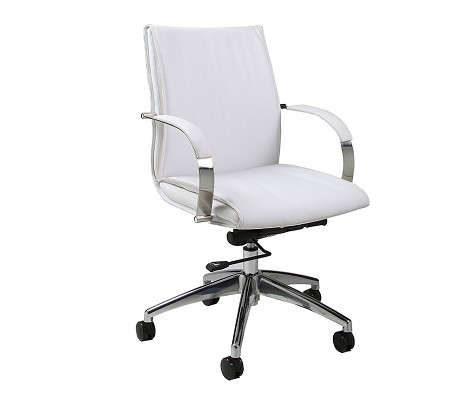 Josephina Office Chair in chrome/aluminum upholstered in Pu Ivory