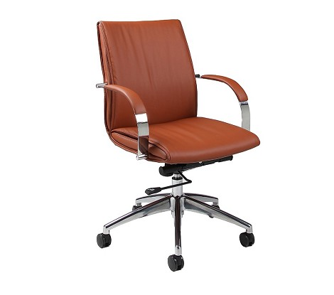Josephina Office Chair  in chrome/aluminum upholstered in Pu Brown