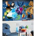 Ben 10 Chair Rail Prepasted Mural 6' X 10.5' - Ultra-Strippable